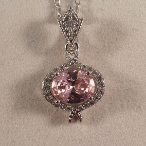 Jewelry - 18K WGF Pink Topaz Zircon Pendant Necklace